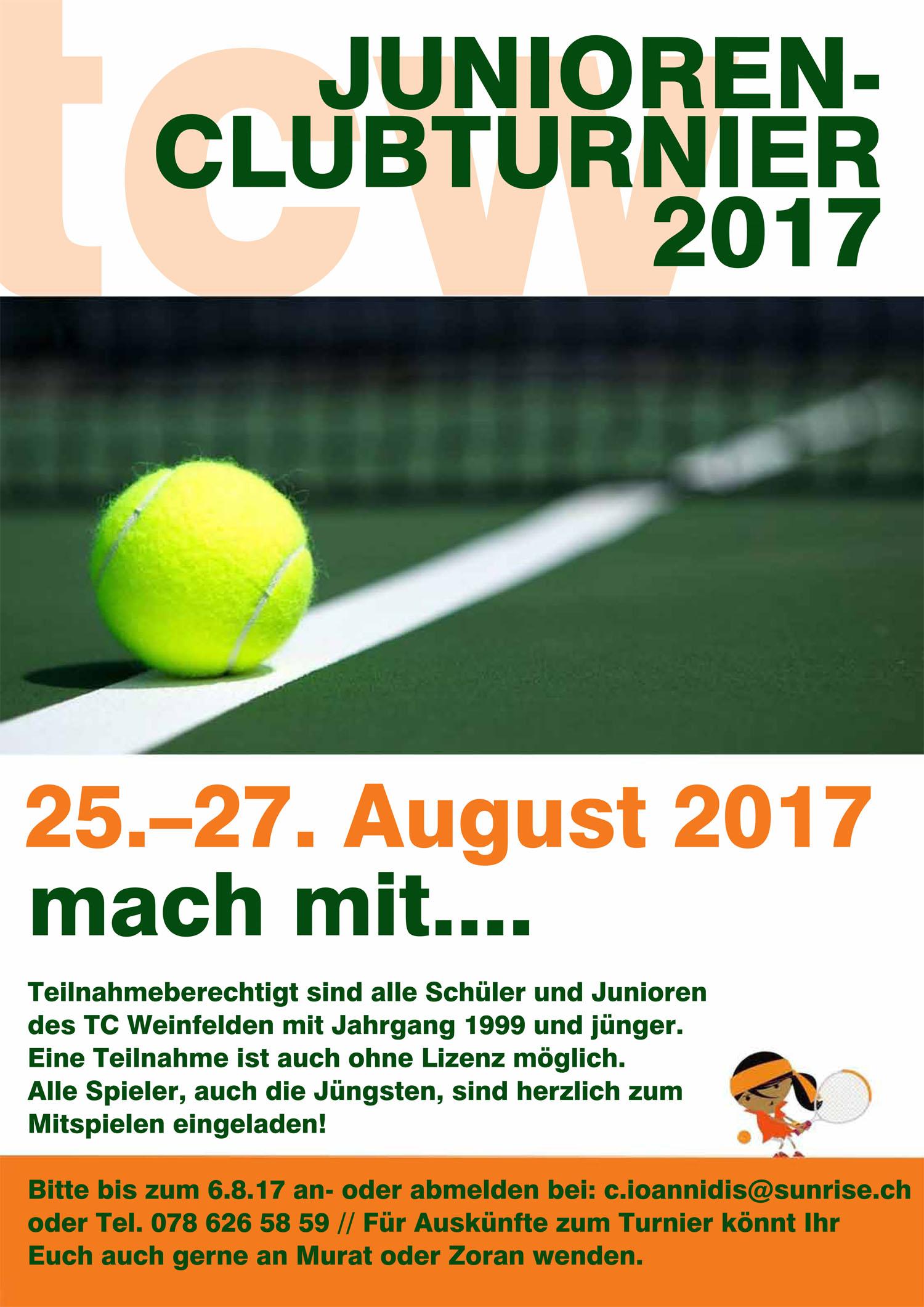 Junioren Clubmeisterschaften 2017 – 26. + 27. August