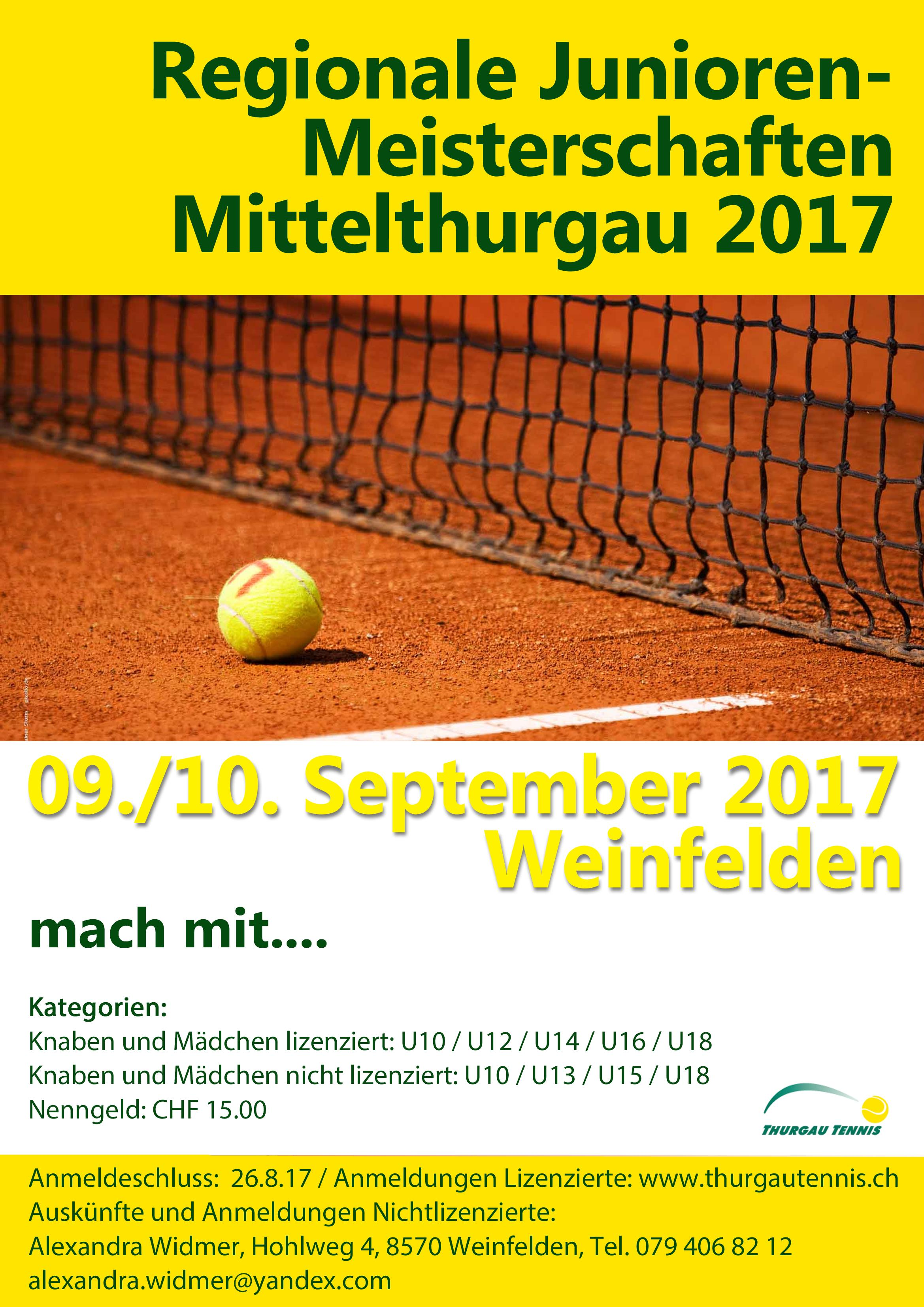 Regionale Junioren-Tennismeisterschaften 2017 Weinfelden vom 09./10. September 2017