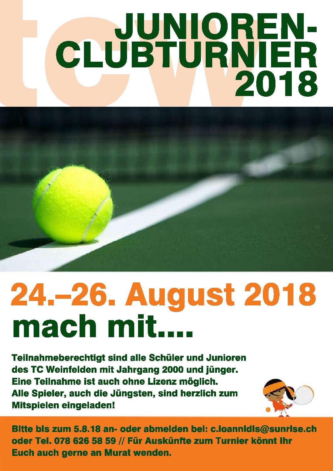 Junioren Clubmeisterschaften 2018 24.–26. Aug. 2018